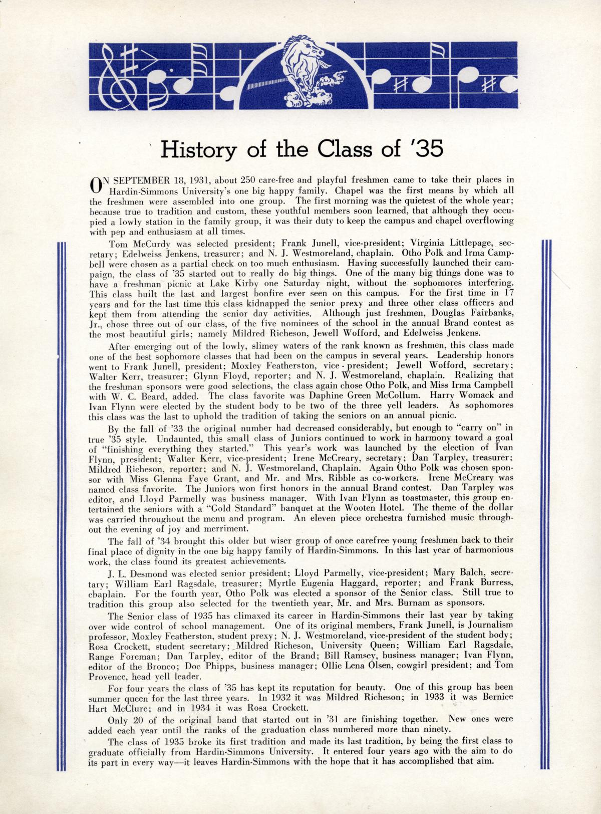 The Bronco, Yearbook of Hardin-Simmons University, 1935                                                                                                      42