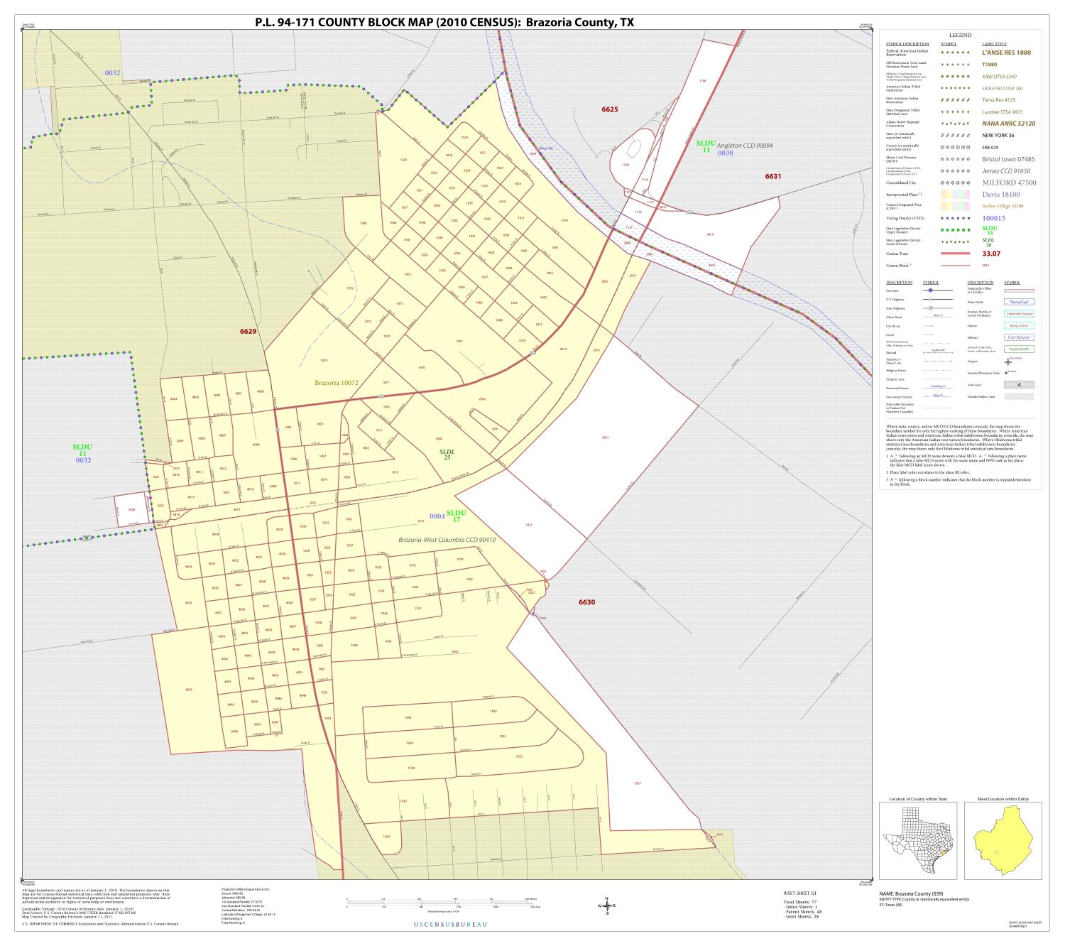 P.L. 94-171 County Block Map (2010 Census): Brazoria County, Inset Q01                                                                                                      [Sequence #]: 1 of 1