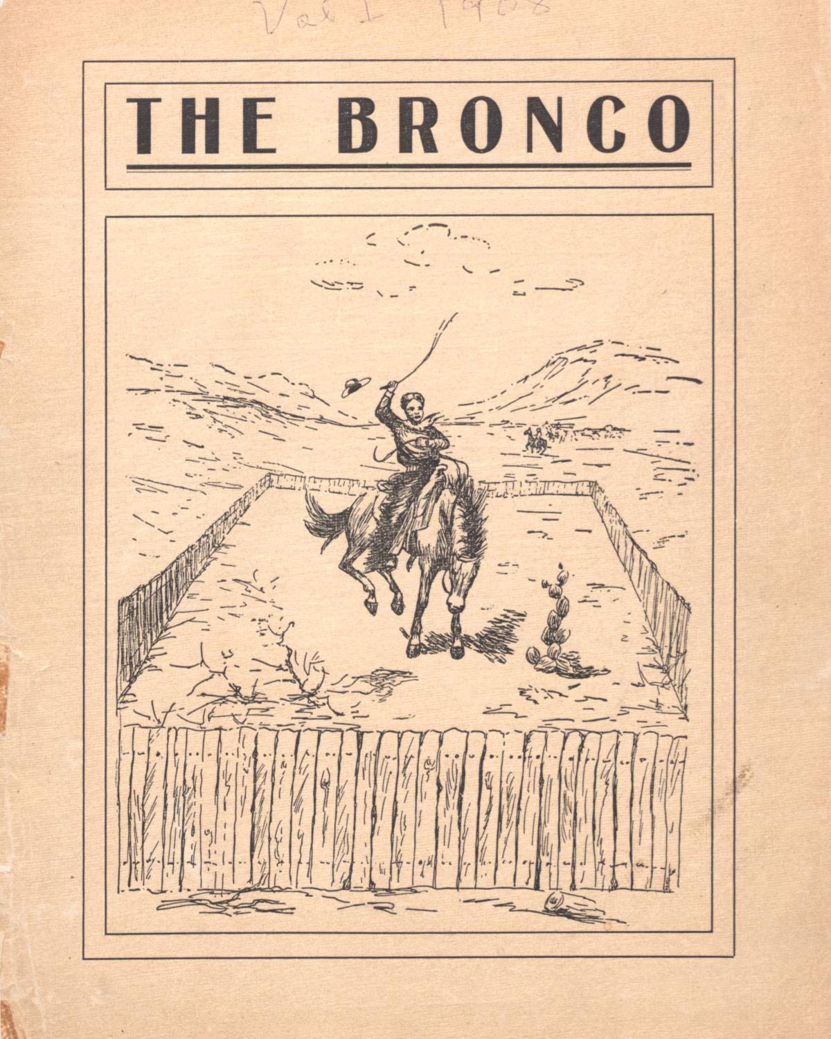 The Bronco, Yearbook of Simmons College, 1908                                                                                                      Front Cover