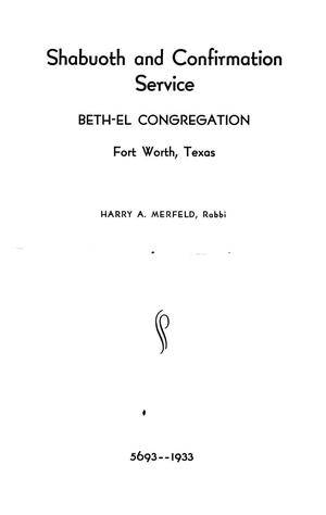 Primary view of object titled 'Confirmation Program, Beth-El Congregation Fort Worth, 1933'.