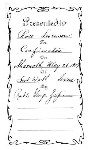 Primary view of object titled 'Confirmation Bible of Rose Levenson, Beth-El Congregation'.