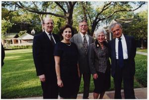 Primary view of object titled '[Rabbi Ralph Mecklenburger with wife, Ann, Stan and Marcia Kurtz, and Nobel Laureate Ellie Wiesel]'.