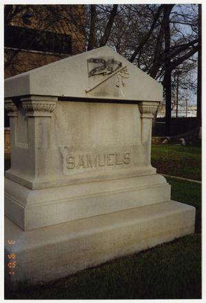 Primary view of object titled '[Tombstone of Confederate Soldier Jacob Samuels (1836-1906)]'.