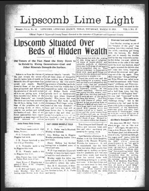 Primary view of object titled 'Lipscomb Lime Light (Lipscomb, Tex.), Vol. 1, No. 17, Ed. 1 Thursday, March 13, 1913'.