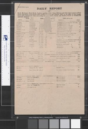 Primary view of object titled 'Tarrant County Clerk's Daily Report for Oct. 3 and Oct. 4, 1902'.