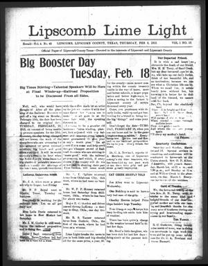 Primary view of object titled 'Lipscomb Lime Light (Lipscomb, Tex.), Vol. 1, No. 12, Ed. 1 Thursday, February 6, 1913'.