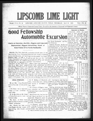 Primary view of object titled 'Lipscomb Lime Light (Lipscomb, Tex.), Vol. 3, No. 26, Ed. 1 Thursday, May 13, 1915'.