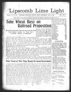 Primary view of object titled 'Lipscomb Lime Light (Lipscomb, Tex.), Vol. 1, No. 9, Ed. 1 Thursday, January 16, 1913'.