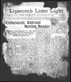 Primary view of object titled 'Lipscomb Lime Light (Lipscomb, Tex.), Vol. 1, No. 1, Ed. 1 Thursday, November 21, 1912'.