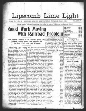 Primary view of object titled 'Lipscomb Lime Light (Lipscomb, Tex.), Vol. 1, No. 8, Ed. 1 Thursday, January 9, 1913'.
