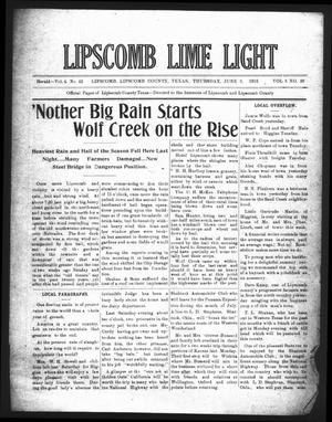 Primary view of object titled 'Lipscomb Lime Light (Lipscomb, Tex.), Vol. 3, No. 29, Ed. 1 Thursday, June 3, 1915'.