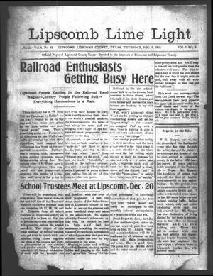 Primary view of object titled 'Lipscomb Lime Light (Lipscomb, Tex.), Vol. 1, No. 3, Ed. 1 Thursday, December 5, 1912'.
