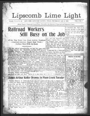 Lipscomb Lime Light (Lipscomb, Tex.), Vol. 1, No. 7, Ed. 1 Thursday, January 2, 1913
