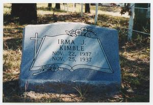Primary view of object titled '[Gravestone for Irma Kimble]'.