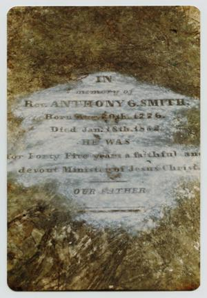 Primary view of object titled '[Grave Marker of Rev. Anthony Garnett Smith, Sr.]'.