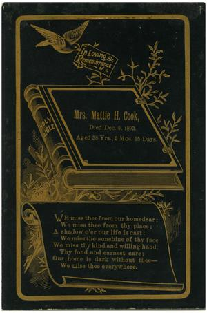 Primary view of object titled 'In Loving Rememberance of Mrs. Mattie H. Cook'.