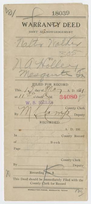 Primary view of object titled '[Deed of Sale, May 1921]'.