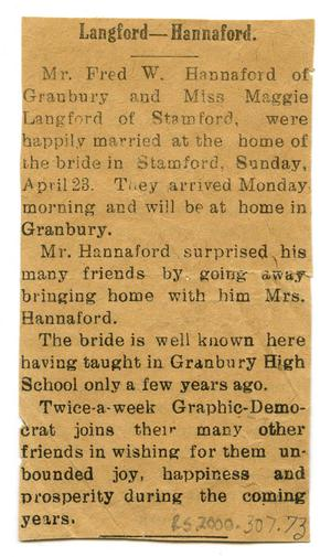 Primary view of object titled '[Langford-Hannaford Wedding Announcement]'.