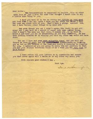 Primary view of object titled '[Letter to Leila]'.