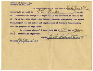 Primary view of object titled '[Payment Receipt for D.C. Parks, 16 January 1917]'.