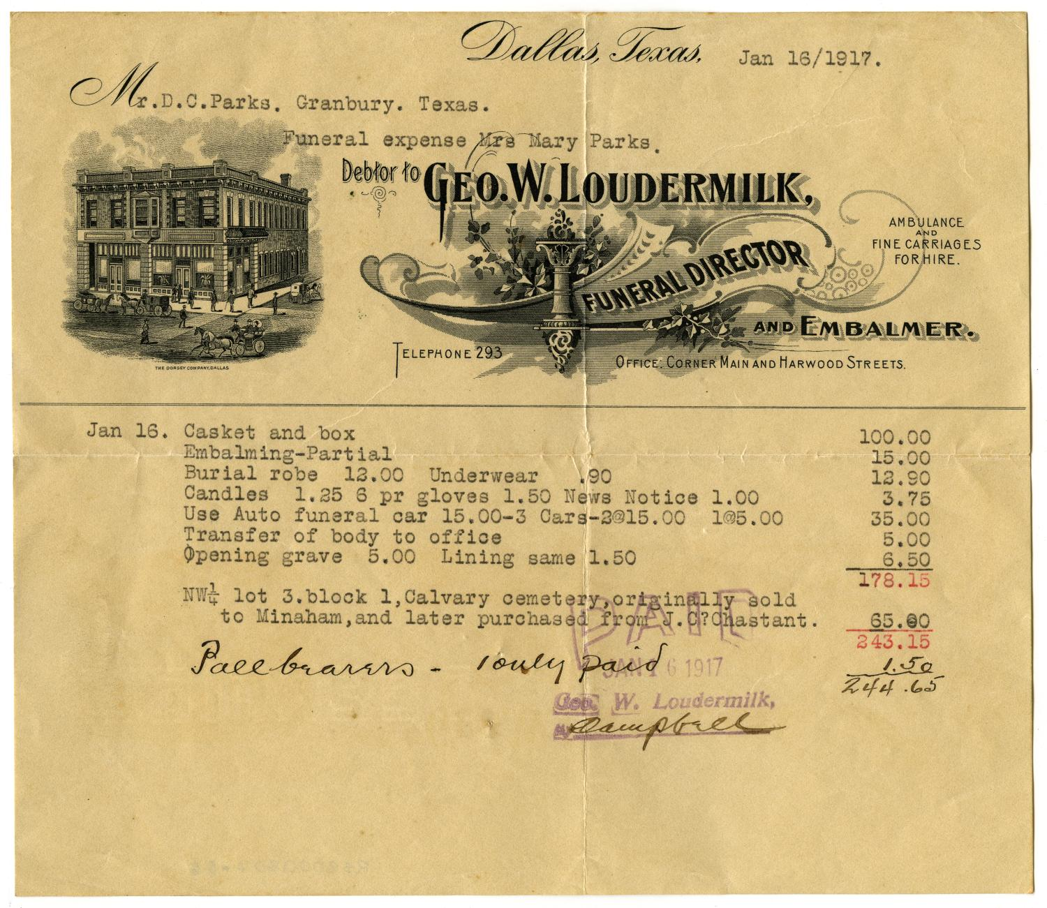 [Funeral Expense for Mrs. Martha Parks, 16 January 1917]                                                                                                      [Sequence #]: 1 of 1