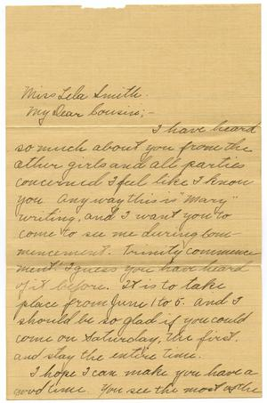 Primary view of object titled '[Letter to Miss Lela Smith, 18 May 1912]'.