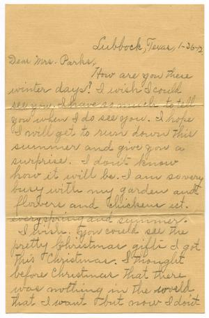 Primary view of object titled '[Letter to Mrs. Parks, 26 January 1912]'.