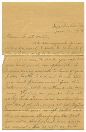 Primary view of object titled '[Letter to Mrs. Mattie Parks, 12 January 1912]'.