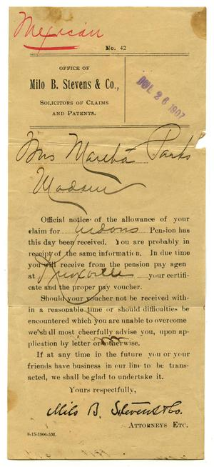 Primary view of object titled '[Notice to Mrs. Martha Parks, 26 July 1907]'.