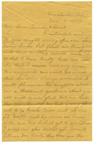 Primary view of object titled '[Letter to Mr. Milton Parks, 7 November 1905]'.