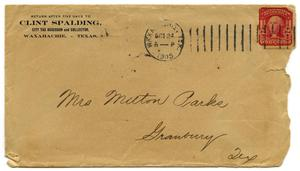 Primary view of object titled '[Envelope for Letter to Mrs. Milton Parks, 24 October 1905]'.