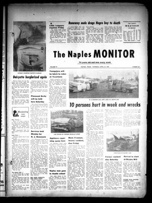 Primary view of object titled 'The Naples Monitor (Naples, Tex.), Vol. 74, No. 39, Ed. 1 Thursday, April 21, 1960'.