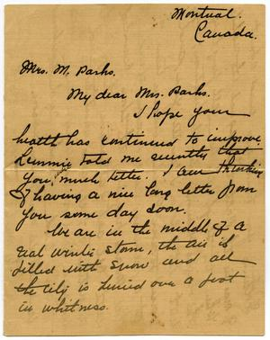Primary view of object titled '[Letter to Mrs. M.Parks]'.