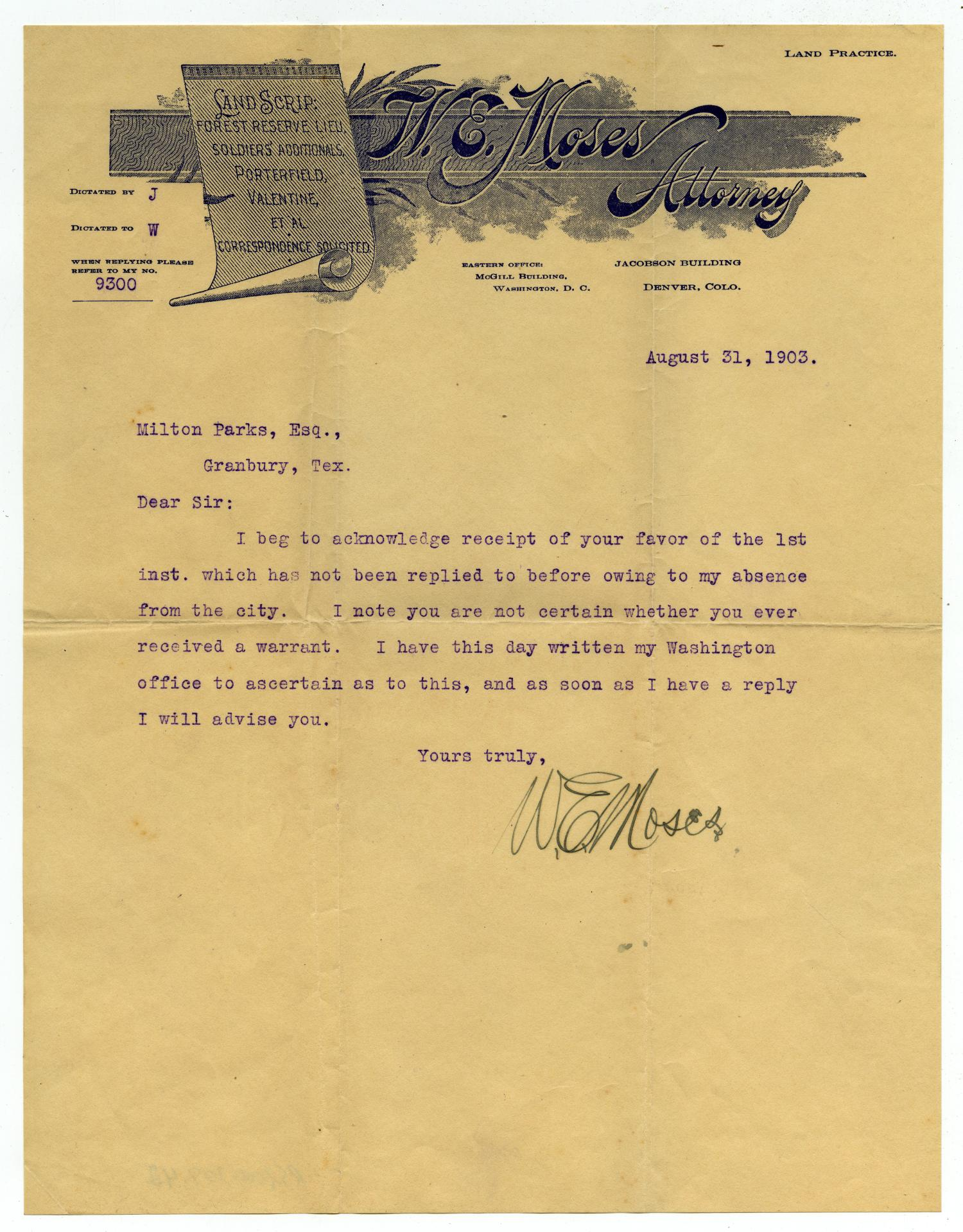 [Letter to Mr. Milton Parks, 31 August 1903]                                                                                                      [Sequence #]: 1 of 1