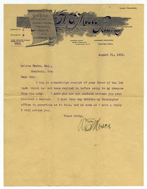 Primary view of object titled '[Letter to Mr. Milton Parks, 31 August 1903]'.