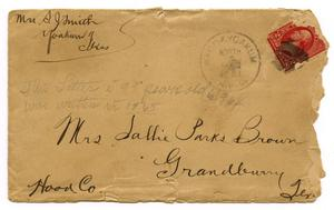 Primary view of object titled '[Envelope for Letter to Mrs. Sallie Parks Brown, 9 March 1901]'.