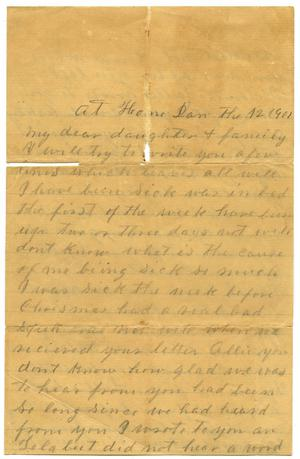 Primary view of object titled '[Letter to Allie, 12 January 1901]'.