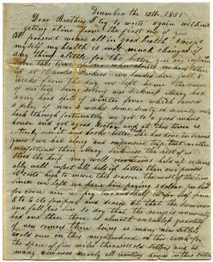Primary view of object titled '[Letter to Mr. Milton Parks, 12 December 1851]'.