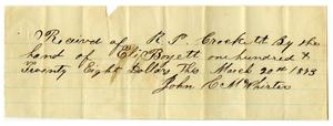 Primary view of object titled '[Receipt of payment between R.P. Crockett and Eli Boyett]'.