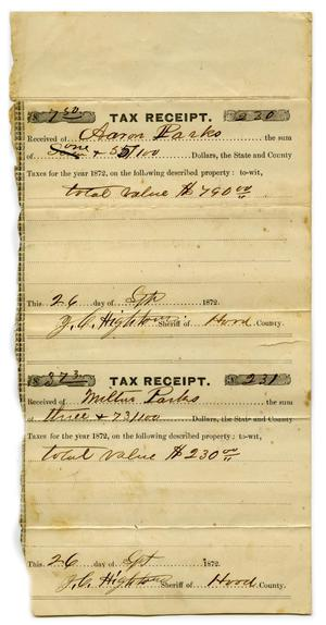 Primary view of object titled '[Tax receipt for Aaron Parks]'.