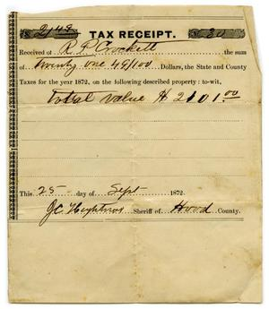 Primary view of object titled '[Tax receipt for R.P. Crockett]'.