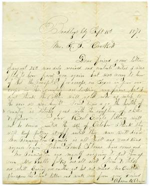Primary view of object titled '[Letter from Abram N. Denins to R.P. Crockett, September 15 1871]'.