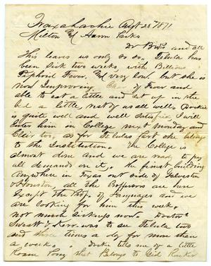 Primary view of object titled '[Letter from J.E. Smith to Milton and Aaron Parks, August 28 1871]'.