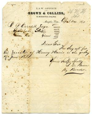 [Letter for Robert P. Crockett from the Law Office of Brown & Collins, April 24, 1871]