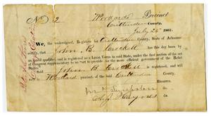 Primary view of object titled '[Voters Registration Document for John B. Crockett, July 26 1867]'.