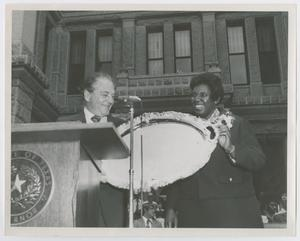 Primary view of object titled '[Barbara Jordan With Honorary Trophy]'.