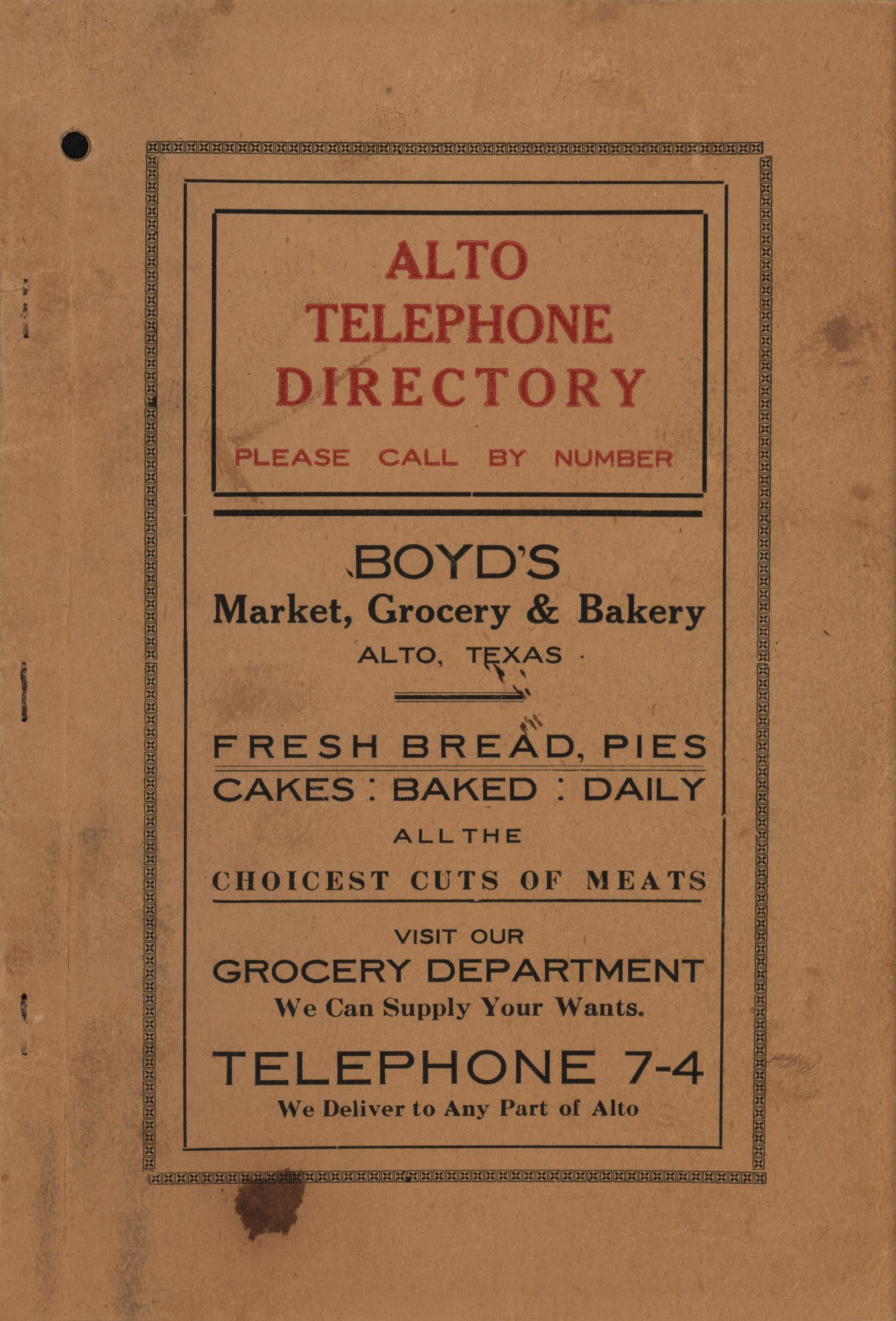 Alto City Directory                                                                                                      Front Cover