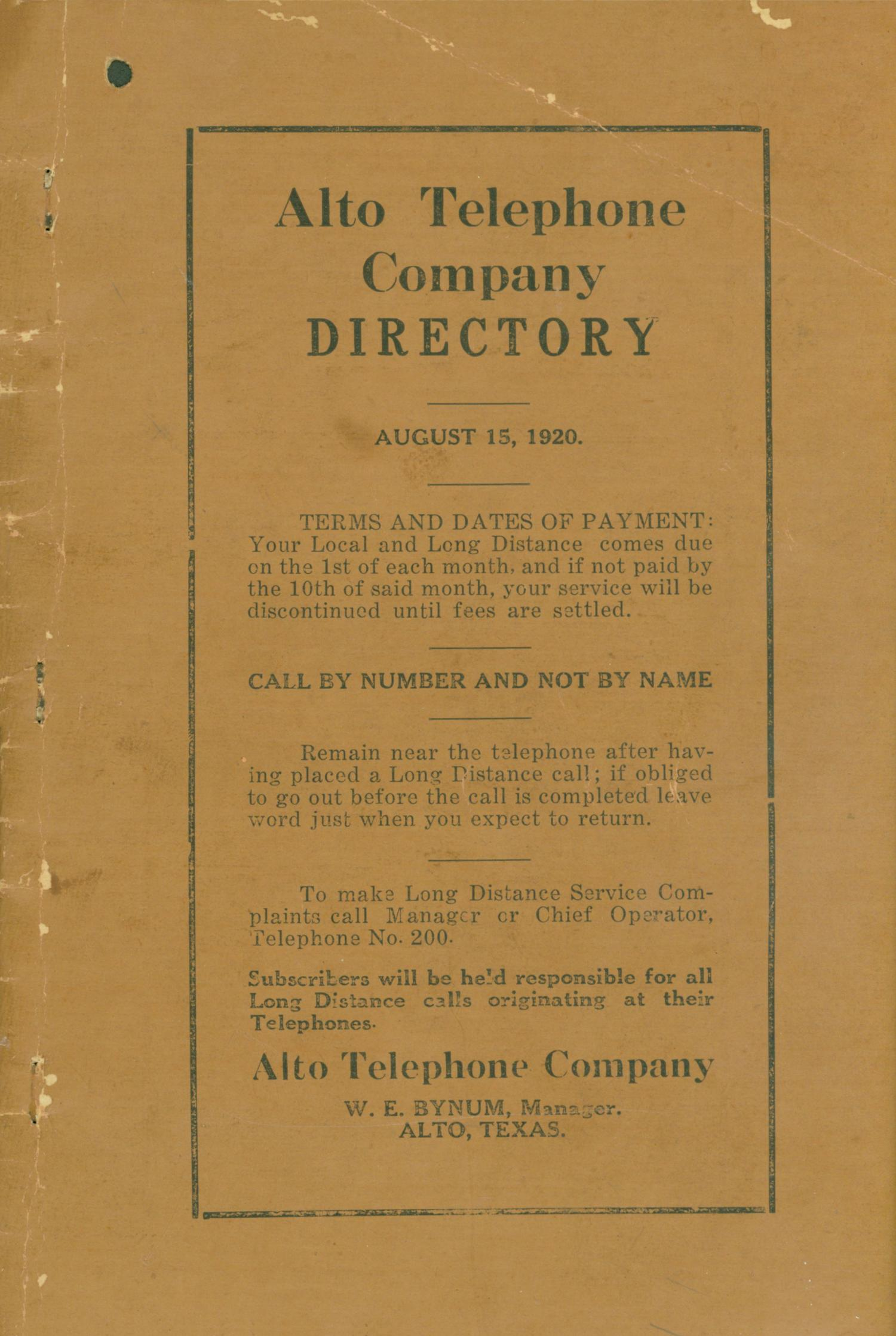 Alto City Directory, 1920                                                                                                      Front Cover