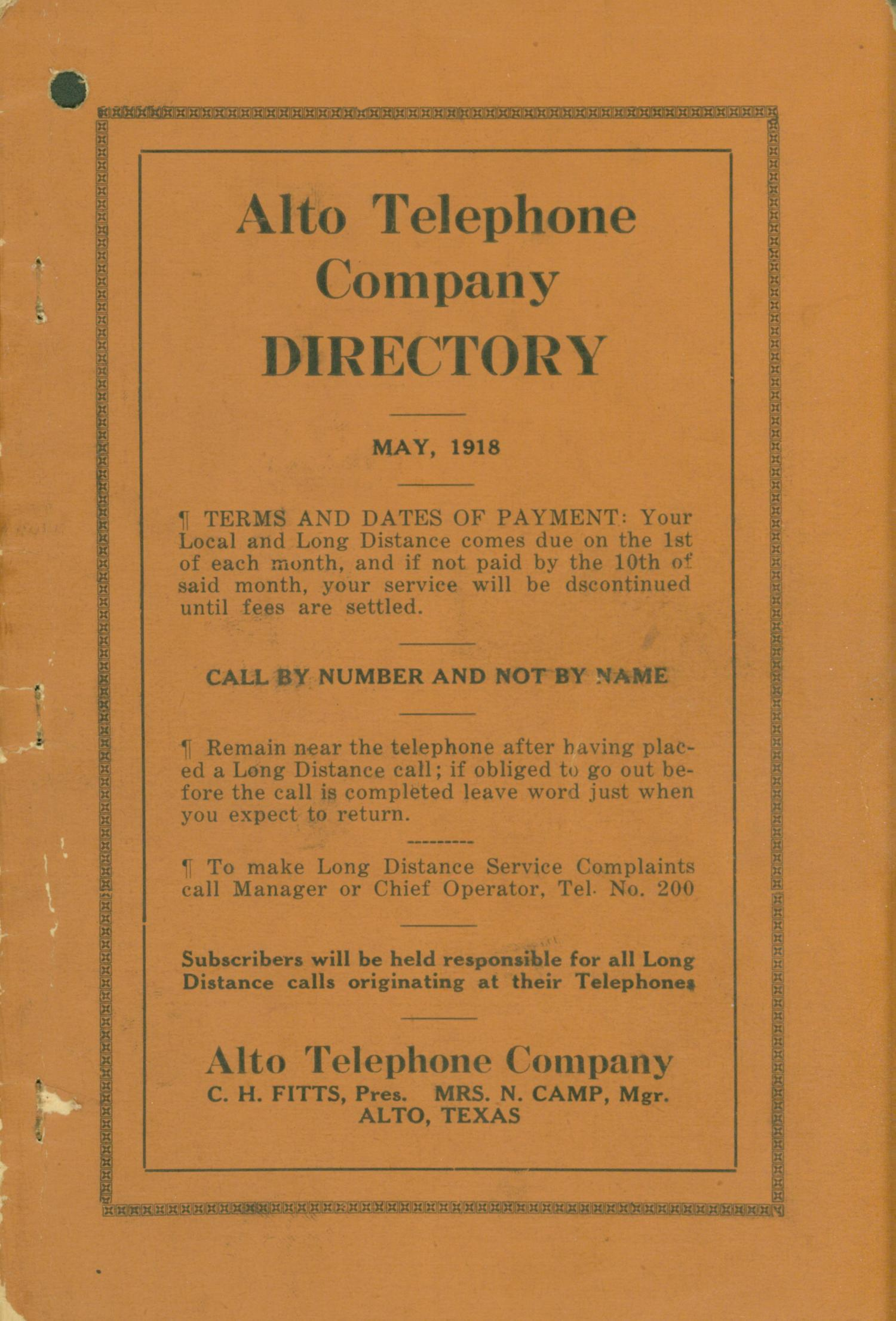 Alto City Directory, 1918                                                                                                      Front Cover