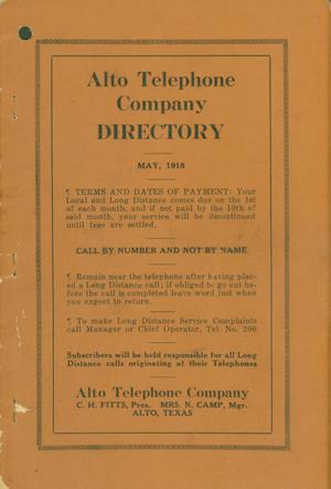 Primary view of object titled 'Alto City Directory, 1918'.